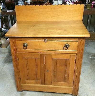 Antique 1800s Eastlake Washstand Side Table Vanity Dresser Entry Vanity Maple