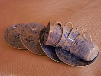 Antique 19C English  Pottery China Transfer Rare Light Blue Willow Cups Saucers