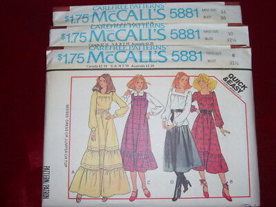 UNCIRCULATED McCALL/'S #6182 LADIES BUTTON DOWN SHIRT DRESS PATTERN  10-20 FF