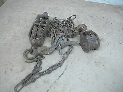 Old Antique Wire Fence Stretcher PUlleys & Clamp