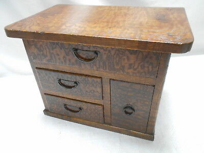 Antique Sugi & Keyaki Wood Dresser or Jewellery Box Japanese Drawers C1920s #749