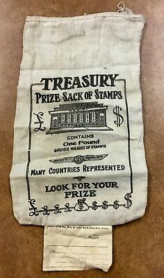 """{BJ STAMPS} Vintage Merit Cloth Prize Sack of Stamps empty bag collectible 7X11"""""""
