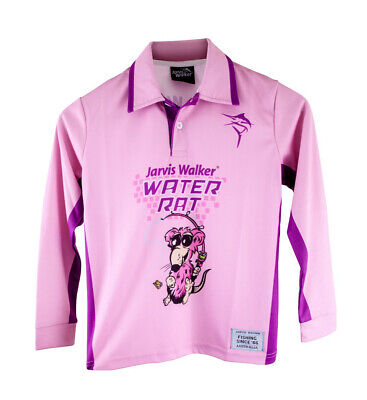 Pink Jarvis Walker Water Rats Kids Long Sleeve Fishing Shirt with Collar-UPF 45+