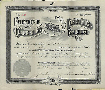 Fairmont and Clarksburg Electric RR CO stock #130 1903 WV West Virginia