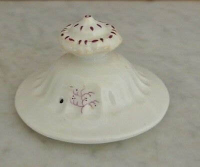 Antique Old White with Red Flowers Ironstone Coffee /Tea Pot Lid