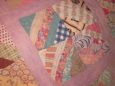 C.1920,killer orig.design all by hand patchwork feedsack quilt,twin/double,SC