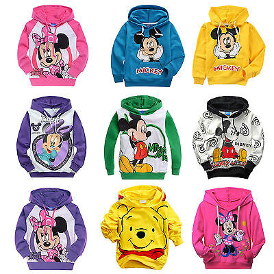 Baby Kids Girls Boys Mickey Mouse Hoodie Sweatshirt Pullover Top Outwear Clothes