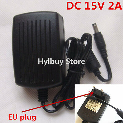 EU DC15V 2A Adapter AC 220v 230v to DC 15v converter Power Supply Charger 5.5mm