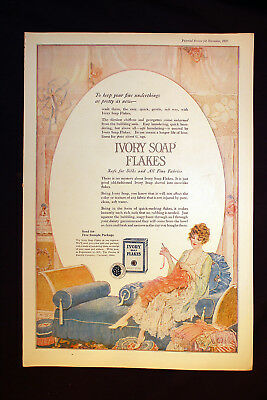 Antique Ivory Soap Flakes Ad 1920 Safe For Silks Fine Fabrics Procter