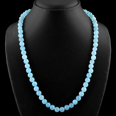 365.00 CTS NATURAL 3 STRAND RICH BLUE CHALCEDONY ROUND SHAPE BEADS NECKLACE