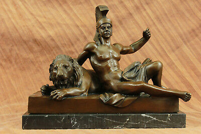 Close Out Cast Roman Warrior Laying with Lion Bronze Figurine Sculpture Decor