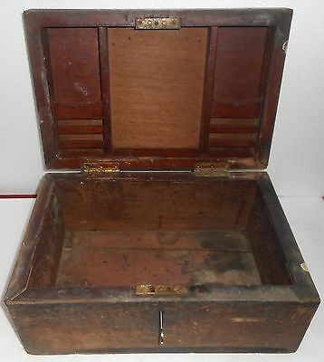 1900s India Antique Handmade Wooden Cash Box with Key Lock  X111