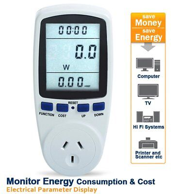 AU Plug Power Energy Consumption Meter Socket Electricity Usage Cost Monitor NEW