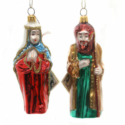 Polonaise Ornament ST JOSEPH/BLESSED MOTHER Glass Nativity Poland Gp412/413