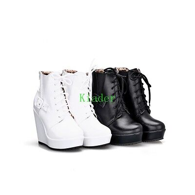 Goth Women Wedge Over High Heels Ankle Boot Casual Lace Up Platform Sneaker Shoe