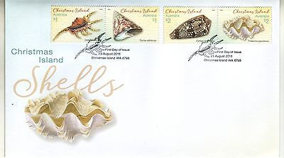 CHRISTMAS Island 2016  SEA SHELLS set of 4 [ 2 joined pairs]  on FDC - Marine