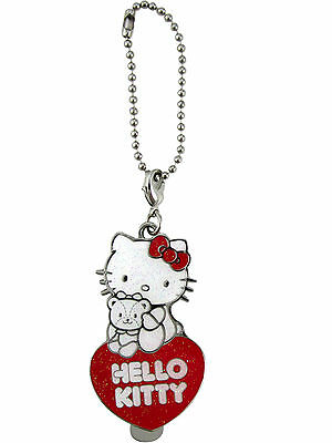 New Sanrio HELLO KITTY Keychain Key Ring Charm w/ Bookmark Clip on Back