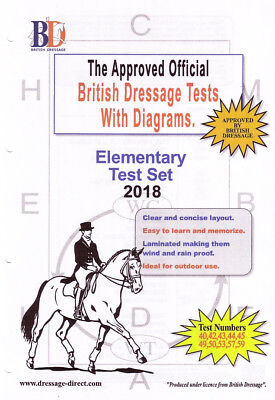 2018 ELEMENTARY TEST SET: Laminated British Dressage Tests With Diagrams