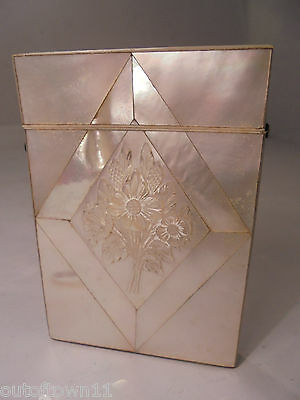 Antique Mother of Pearl Card Silver Case    ref 921