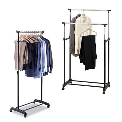 Clothes Rail Adjustable Coat Rack Wardrobe Portable Double Hanging Stand Storage