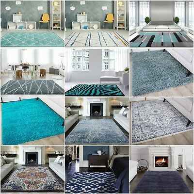 Blue Modern Rugs Duck Egg Traditional Shaggy Rug Soft Geometric Living Room Mats