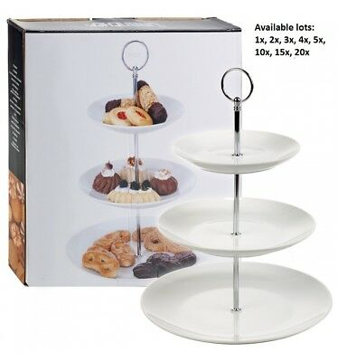 3 Tier Ceramic Round Display Cake Cupcake Stand Tea Wedding Food Platter Rack