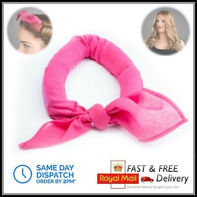 Unicurler Hair Sleep in Night Band Roller Bandana - Waves Curls Curling - PINK