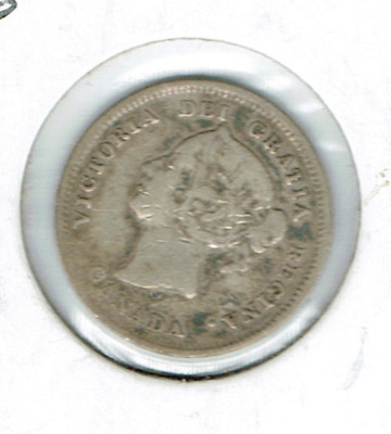1880-H Canadian Circulated  Victoria Silver Five Cent Coin!