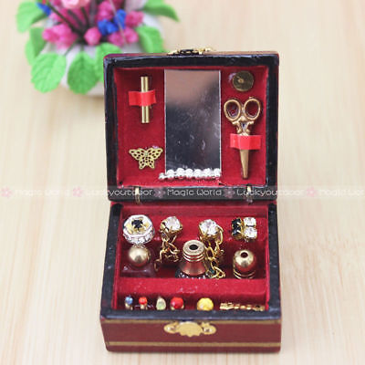 Vintage Jewelry Box Dressing Case Makeup Cosmetic Wood Dollhouse Miniatures 1:12