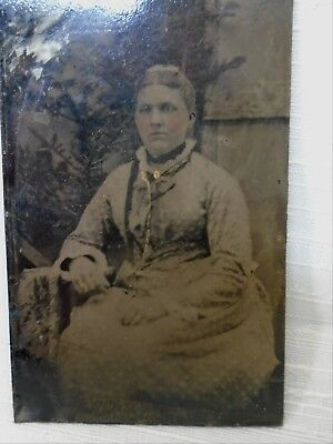 Antique Tintype Photo Hand Tinted Jewels Matron Woman in Finest Clothing