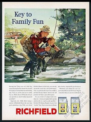 1960 fly fishing fisherman father son art Richfield gas pump vintage print ad