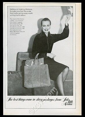 1976 Halston Ultrasuede luggage suitcase bag tote photo Saks vintage print ad