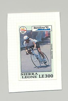 Sierra Leone #1517 Olympics, Bicycling 1v Imperf Proof on Card