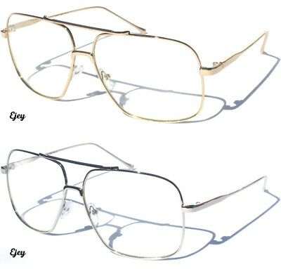 Metal Frame Large Aviator Clear Lens Eye Glasses Classic Retro Square Style