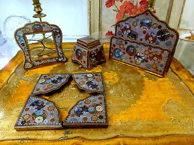 Amazing Antique Japanese Cloisonne Enamel Desk Set Meiji Period