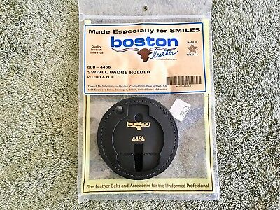Genuine Boston Leather 600-4466 Round Recessed Clip On Badge Holder