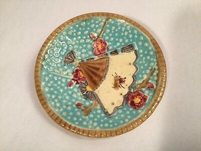 Antique Fielding Majolica Fan & Insect Butter Pat, em100  GIFT QUALITY!!