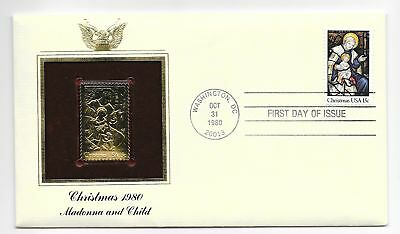 1980 CHRISTMAS MADONNA AND CHILD 22kt Gold Replica Stamp 1st Day Issue Cover