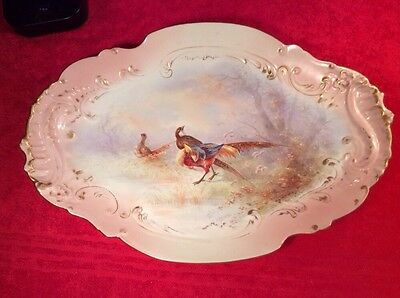 Antique Hand Painted Signed French Limoges Game Bird Platter c.1894-1906, L260