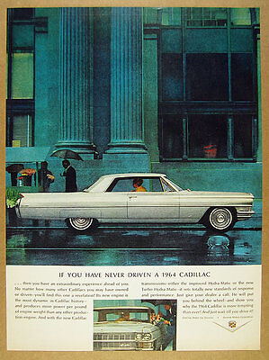 1964 Cadillac Coupe Deville silver gray car color photo vintage print Ad