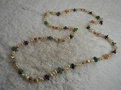 Faux Pearl Mixed Stone Bead Necklace, Amethyst, Turquoise, Rose Quartz, + (C29)