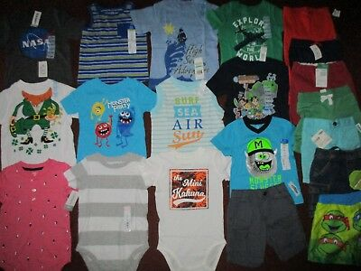NWT Huge 19pc Boys Sz 18 24 Months Summer Lot of  Name Brand CLOTHES & OUTFITS