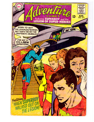 ADVENTURE COMICS #371 in VG+ DC 1968 Silver Age comic with SUPERBOY & LEGION LSH