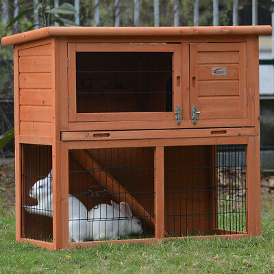 Rabbit Hutch Wooden Chicken Coop Guinea Pig Cage House Slide-out Tray Run
