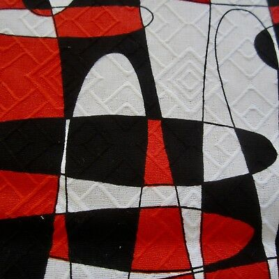55cm x 92cm Vintage cotton fabric 1960s Black Red Japanese Psychedelic Retro Sew