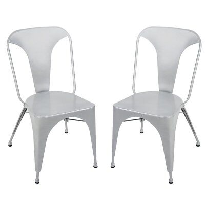 Merax Set of 2 Distressed High Back Chic Steel Stackable Metal Dining Chai Cafe