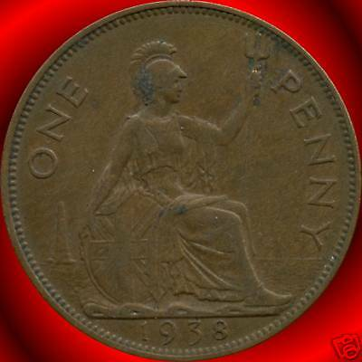 1938 1939 1940 & 1945 Great Britain 1 Penny Coins
