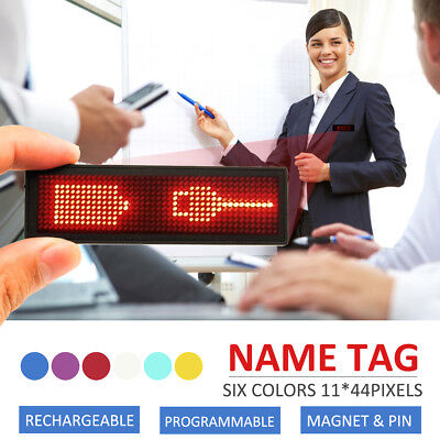 MECO LED Rechargeable Programmable Scrolling Name Badge Tag Message Digital Sign