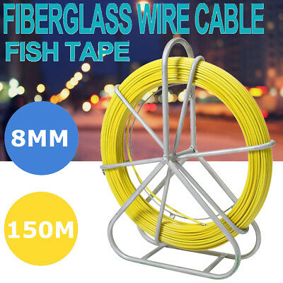 8mm 150m Large Fish Tape Fiberglass Wire Cable Running Rod Duct Rodder Fishtape