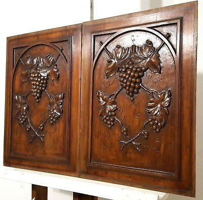 Hand Carved Wood Panel Pair Antique French Grapes Vine Architectural Salvage